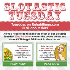•.★.• TUESDAYS ARE SLOTASTIC ! •.★.• Why not grab a Bonus today while slotting. All you need to do to make the most of our Slotastic Tuesday is enter the codes, stake €/£10 and get €/£5 back in slots bonus. Bingo Games, Casino Games, Slot, Tuesday, Budgeting, Coding, How To Get, Budget Organization, Programming
