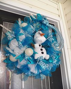 2014 Halloween Frozen Wreath with Olaf - Disney Frozen Room Decoration, Ribbon