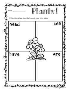 This freebie is a part of my Plant Unit. Add it into your plant unit with your kiddos. :) Check out my PLANT UNIT Kindergarten Science, Elementary Science, Science Classroom, Teaching Science, Science For Kids, Teaching Ideas, Science Worksheets, Science Lessons, Science Activities