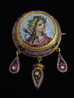 18K Gold Victorian Micro Mosaic Pin/Brooch Picture Of Girl - Estate Jewelry