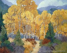 "Contemporary Landscape Artists International: Contemporary Mountain Landscape Painting, ""Bachelor's Gulch Aspens"", by Colorado Artist Laura Reilly"