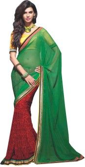 Resham Fabrics Printed, Self Design Fashion Georgette Sari