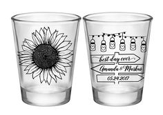 "100x Custom Wedding Favors 2 Side Shot Glasses | 1.75 oz Clear | Country Sunflower (1D) Sign Post | Choose Imprint Color |  by ""ThatWedShop"" on Etsy 