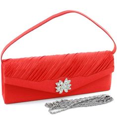 Pleated Evening Bag Clutch W/ Rhinestone Flower Brooch Satin Red