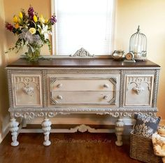 Beautiful Jacobean buffet makeover with paint.