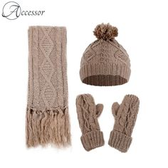 Women Diamond Twist Knitted Woolen Hat Scarf Gloves Three-Piece Set Outdoor Windproof Warm Suits is hot sale on Newchic. Cable Knit Hat, Knit Beanie Hat, Cozy Knit, Knitted Hats, Crochet Hats, Winter Knit Hats, Hat And Scarf Sets, Outdoor Fashion, Sierra Leone