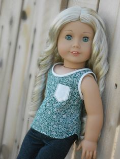 Green Floral Tank Top With Cream Trimmings And by KittykatWorkshop on Etsy. Made with the Not! For Knits Tank Top pattern. Get it here http://www.pixiefaire.com/products/not-for-knits-tank-top-18-doll-clothes. #pixiefaire #notforknitstanktop