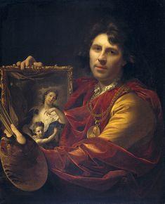 Self-Portrait with the Portrait of his Wife, Margaretha van Rees, and their Daughter Maria (1699). Adriaen van der Werff (Dutch, 1659-1722). Oil on canvas. Rijksmuseum, Amsterdam.