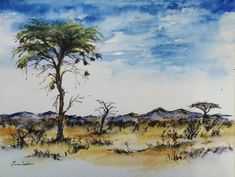 """""""Land that I remember"""".Landscape Study no Watercolour, pen and ink on Fabriano 190 x African Theme, South African Artists, Watercolours, Watercolor Paintings, Art Drawings, Wildlife, Study, Ink, Landscape"""