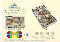 Căn hộ A, 2 phòng ngủ. Tòa căn hộ CT2A - Chung cư Gelexia Riverside - 885 Tam Trinh