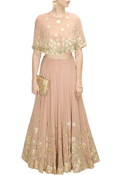 ASTHA NARANG Pale pink sequins embroidered cape lehenga set available only at Pernia's Pop-Up Shop. Indian Attire, Indian Wear, Indian Style, Indian Dresses, Indian Outfits, Cape Lehenga, Lehenga Choli, Anarkali, Indian Lehenga