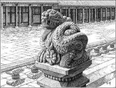 경복궁 근정전 층계 돌기둥청룡조각상