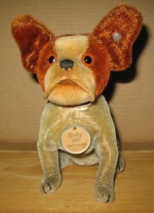 Steiff Original 1927-28 Bully Bulldog Mohair #3317 with Metal Surround Tag 17 cm