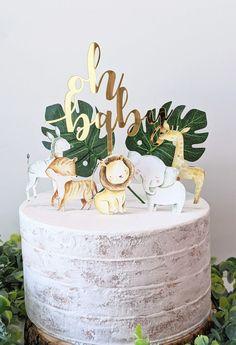 Decoracion Baby Shower Safari, Safari Baby Shower Cake, Baby Shower Cakes For Boys, Baby Shower Niño, Simple Baby Shower, Baby Shower Jungle, Safari Cakes, Jungle Safari Cake, Jungle Theme Cakes