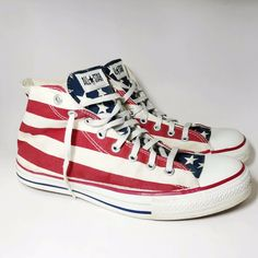 59c469514ae4 Vtg Converse Chuck Taylor All Star Mens 10.5 American Flag 90s Hi Made In  USA. eBay