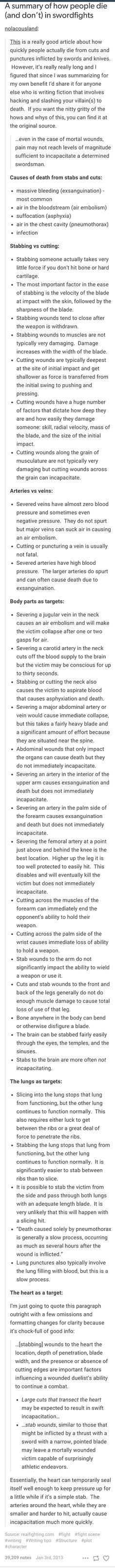 Really informative list about stab wounds. Basically everything you need to know about them. Read away!