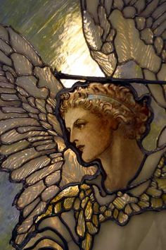 Angel with Feather Wing Detail Stained Glass Window. Stained Glass Angel, Stained Glass Windows, Madonna, I Believe In Angels, Angels Among Us, Angels In Heaven, Guardian Angels, Angel Art, Religious Art