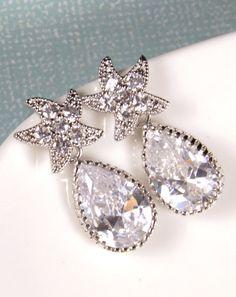 Crystal Star Earrings Teardrop