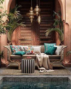 DSE Visualisation-Colourful outdoor space-Morocco style on Behance Moroccan Home Decor, Moroccan Bedroom, Moroccan Interiors, Moroccan Design, Moroccan Style, Morrocan House, Moroccan Lanterns, Patio Interior, Interior Exterior