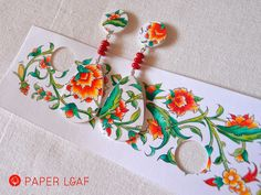 Porcelain Pomegranade | handpainted paper earrings with red coral | acrilyc paint on cardstock | Paper Leaf