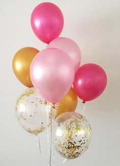 Welcome to Oh How Charming! This listing is for (2) pearl pink (2) pearl hot rose (2) metallic gold and (2) gold mylar confetti 11 latex balloons. ~ Balloons ship flat & deflated ~ Clear Balloons are pre-stuffed with confetti ~ Can be filled with air or helium ~ Filling balloons with