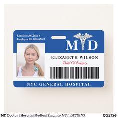 MD Doctor | Hospital Medical Employee Photo ID Badge Nurse Badge, Rn Nurse, Id Badge, Chief Of Surgery, Lanyard Designs, Registered Nurse Rn, Medical Photos, Nursing Accessories, Physician Assistant