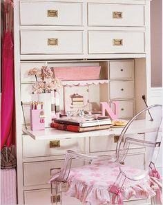 Welcome to The Jewel Box® Home! The place for small home decor, entertaining and living! Fall in love with your small home! Pink Desk, Pink Cushions, Pink Home Decor, Shabby Chic Crafts, Desk With Drawers, Dream Bedroom, Home Office, Office Style, Office Decor