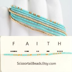 Turquoise and gold bracelets Stackable by ScissortailBeads on Etsy