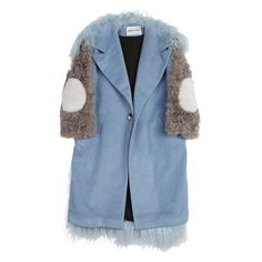 Sandy Liang Mingo Coat (1,655 CAD) ❤ liked on Polyvore featuring outerwear, coats, long oversized coat, long coat, blue long coat, longline coat and blue coat