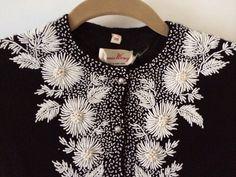 Vintage Hand Beaded Bonnie Wong Cardigan Sweater