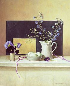 Ridderspoor en viooltjes 2002 (50 x 40 cm) Ingrid Smuling