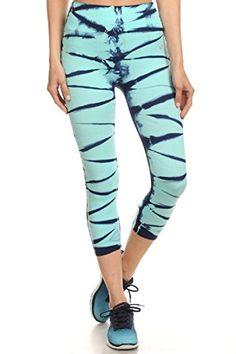 a038430e91a Aqua Tie Dye Capri Womens Capri Workout Pants Yoga Pants Active Running  Leggings  gt  gt
