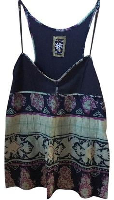 2a60b0f0917b68 Free People Blue Green Summer Tank Top/Cami Size 6 (S) 60% off retail