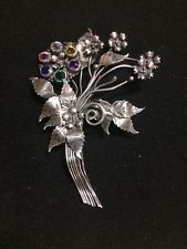 Stunning Hobe Antique Unsigned Sterling Silver Rhinestone Brooch Pin