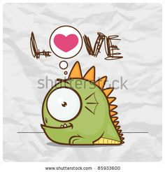 stock vector : Greeting card with little cartoon monster on a paper-background. Vector illustration.