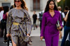 Bold color combos and joyful prints are on display as the fashion train rolls through Milan. Milan Fashion Weeks, Cool Street Fashion, Bruce Lee, Color Combos, Going Out, Feminine, Good Things, Shirt Dress, Shirts