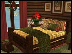 Various recolors Sims 2, Winter Holidays, Holiday Gifts, Hoods, Bedrooms, Cabin, Rustic, Vacation, Christmas