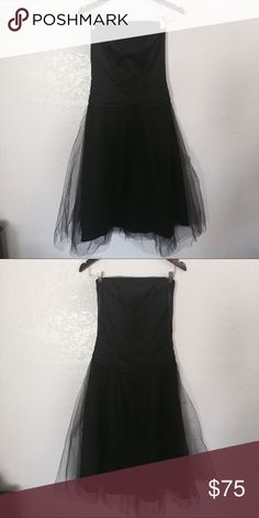 ✨DESSY COLLECTION BLACK TULLE DRESS✨ Beautiful strapless dress with tulle a line overlay. Size 8. Worn once in excellent condition. dessy collection Dresses Strapless