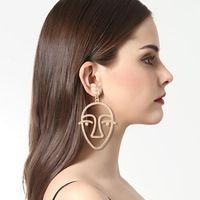 Hipérbole moda Aleación Cuelga El Pendiente Para Las Mujeres Hueco Cara Máscara Pendiente de Gota Punky de la Personalidad de La Joyería Del Partido