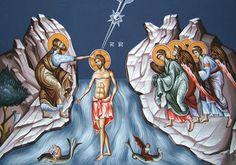 John the Baptist and Jesus Orthodox Icon Baptism Of Christ, Jesus Christ, Religious Icons, Religious Art, Jesus Baptised, John The Baptist, Jesus Is Lord, Orthodox Icons, Epiphany