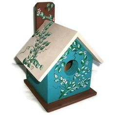 Wood Bird House Handmade & Hand Painted - Teal