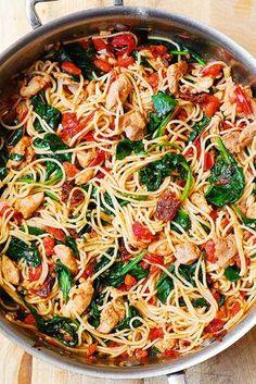 Tomato Spinach Chicken Spaghetti | sub spaghetti squash add feta