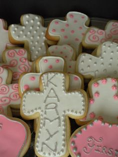 First Communion sugar cookies. Can do similar decorated crosses for Easter too.