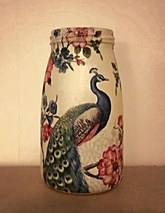 Peacock Jar, decoupage, vase, tealight holder, peacocks, pen holder, pen pot, flower jar, peacock vase, gift for her, home decor by FioreCrafts on Etsy Pencil Holder, Pen Holders, Flowers In Jars, Peacocks, Tea Light Holder, Tea Lights, Decoupage, Gifts For Her, Diy Projects
