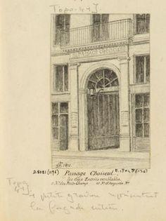 Passages R. D. : passage Choiseul. Les deux entrées semblables. Rue Notre-Dame des petits champs et Notre-Dame Saint-Augustin n°. | Paris Musées