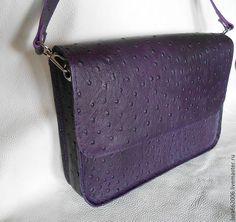 """Купить Женская кожаная сумка """"ВЕЧЕРНЯЯ"""" - тёмно-фиолетовый, сиреневый, клатч, клатч из кожи"""