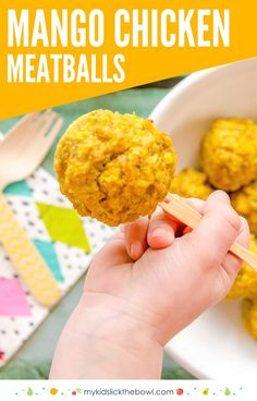 Mango chicken meatballs, an easy baked meat ball recipe perfect for kids and toddlers baby led weaning #babyledweaning #toddlermeal #kidsfood #meatballs