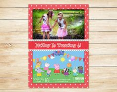 Peppa Pig Photo Invitation Red Stars // Peppa by ApothecaryTables