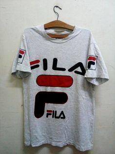 747f61c73d2 Rare !! Vintage Authentic FILA Sport Multilogo Spell Out t-shirt Lolife OG  90 s Style with Fabolous Hipster Swag Men Sz M