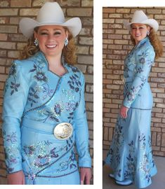 Tresa Goodrich, Dixie Roundup Rodeo Queen 2010, light blue pearlized lambskin dress has many exquisite details. D'Anton Leather Co.
